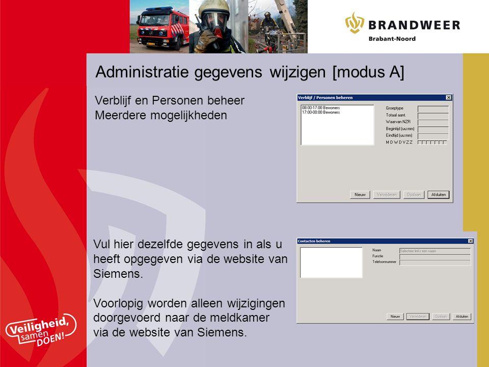 Administratie gegevens wijzigen [modus A]